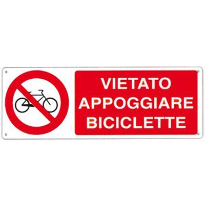 Cartello Alluminio  Vietato Appoggiare Biciclette 350×125