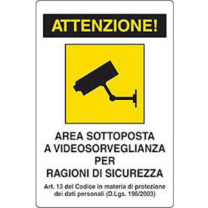 Cartello 300×200 Area Videosorvegliata