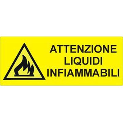 Cartello Pericolo Attenzione Liquidi Infiammabili 350×125