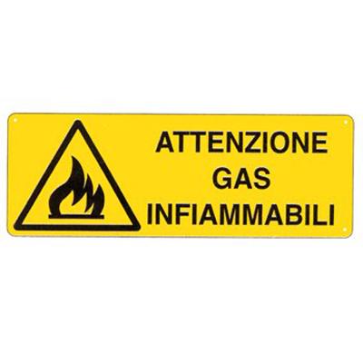 Cartello Pericolo Attenzione Gas Infiammabili 350×125