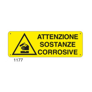 Cartello Pericolo Attenzione Sostanze Corrosive 350×125
