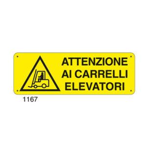Cartello Pericolo Attenzione Carrelli Elevatori 350×125