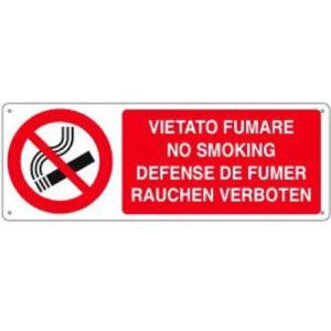 Cartello Vietato Fumare 4 Lingue 350×125
