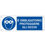 Cartello Obbligo Obbligatorio Proteggere Gli Occhi 350×125