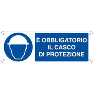 Cartello Obbligo Uso Casco Di Protezione 350×125