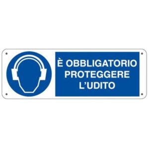 Cartello Obbligo Proteggere L'udito 350×125