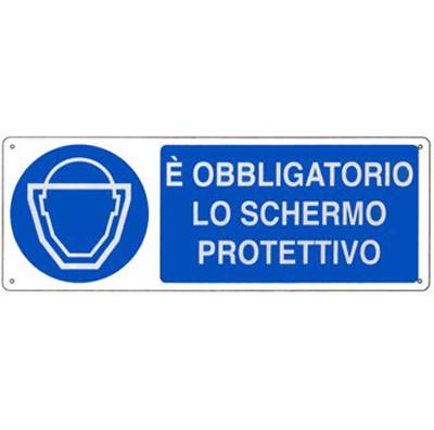 Cartello Allumino Obbligo Schermo Protettivo 350×125